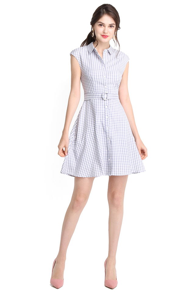 Picnic Vacation Dress In Grey Checks