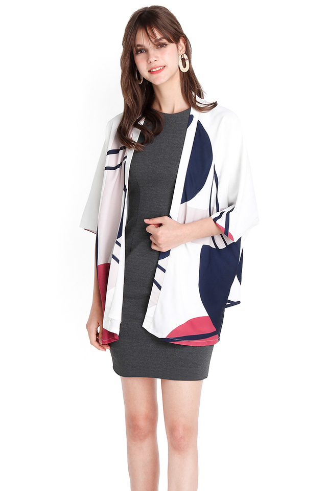 [BO] Kyoto Adventure Kimono In White Abstract Prints