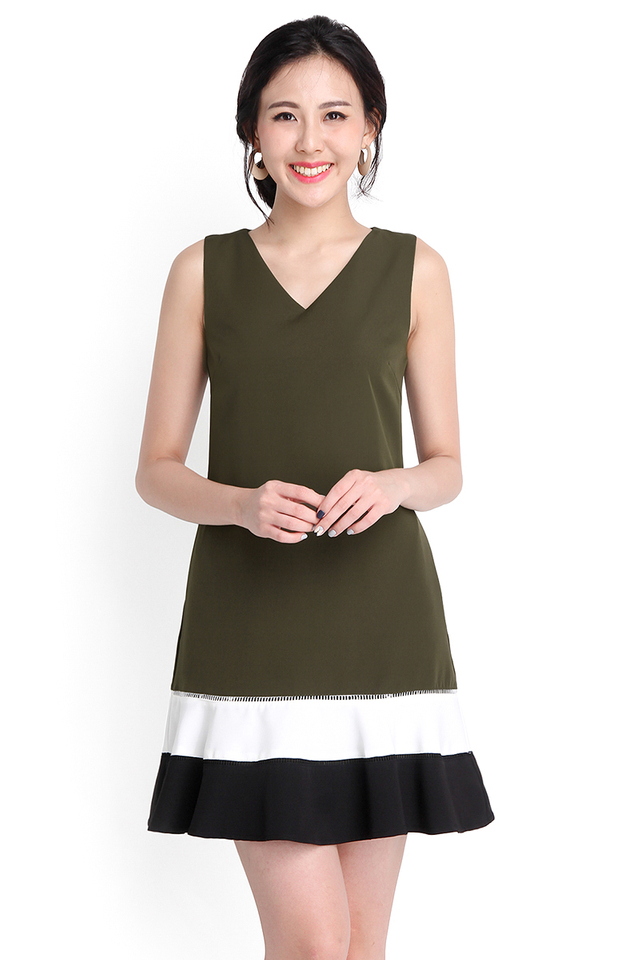 Charismatic Charm Dress In Olive Green