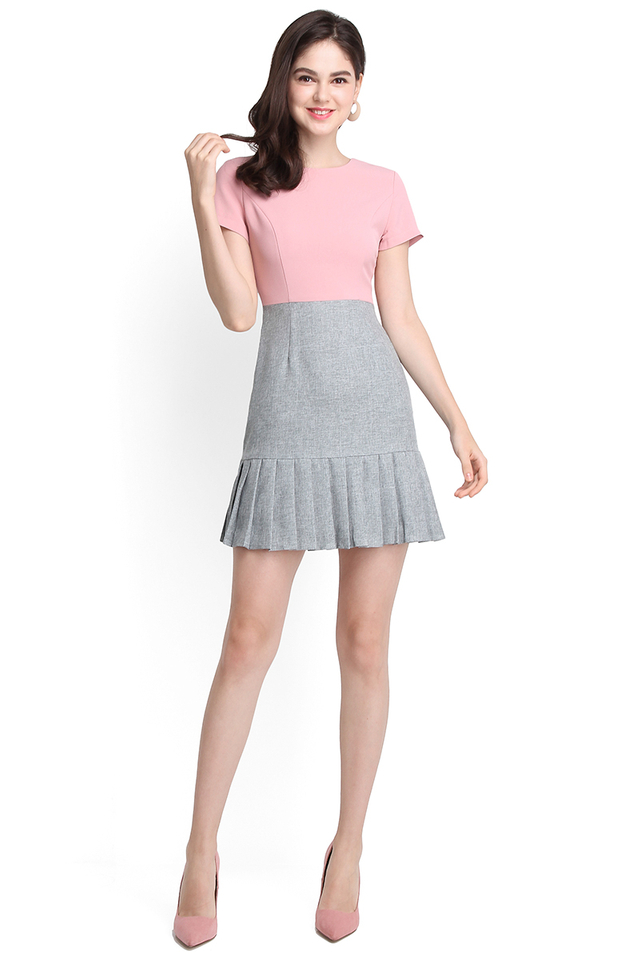 Fated To Love You Dress In Pink Grey