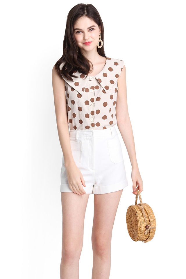 Claire's Party Top In Cream Polka Dots