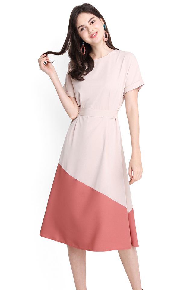 Positively Upbeat Dress In Sand Rose