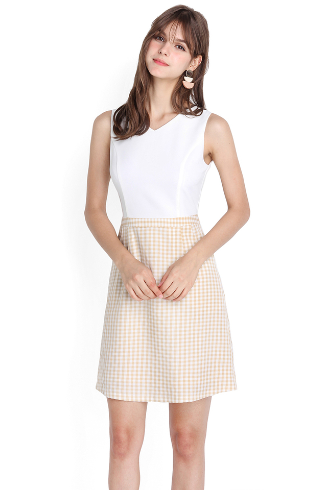 Innocent Charm Dress In White Sand Checks