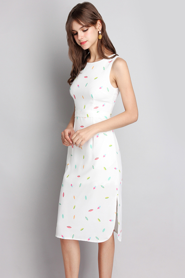 Candy Dreams Dress In White Prints