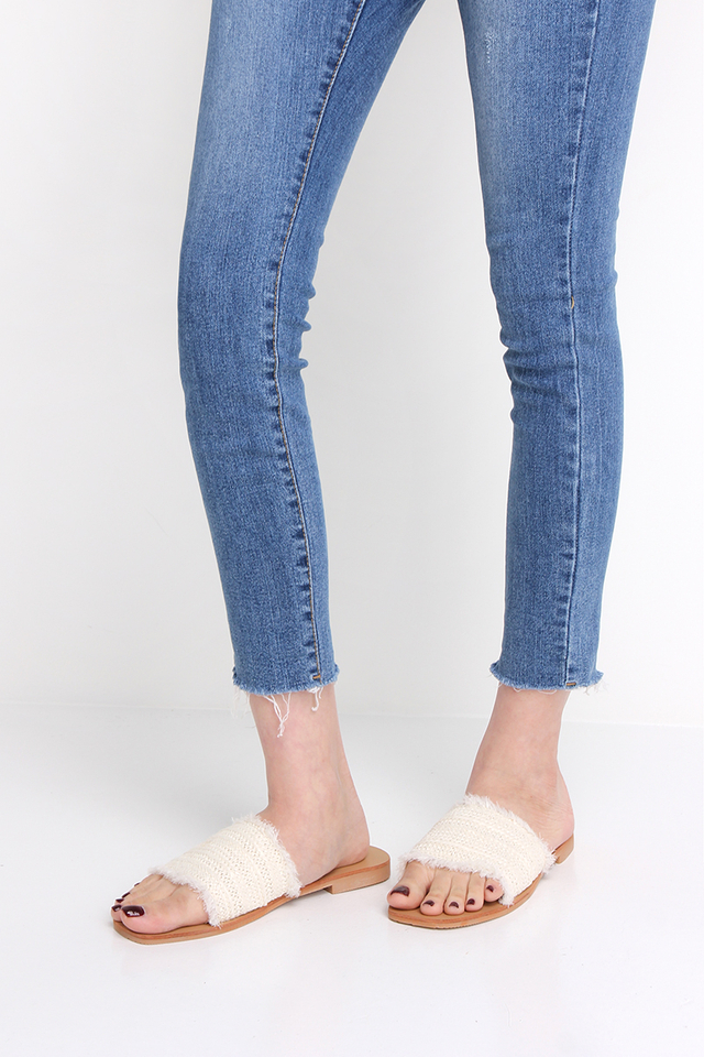 Jane Slip Ons In Cream Tweed