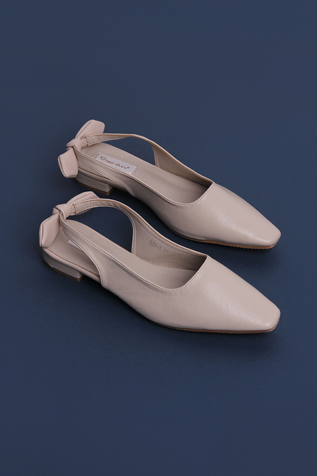 Samantha Bow Sling Backs In Nude Cream