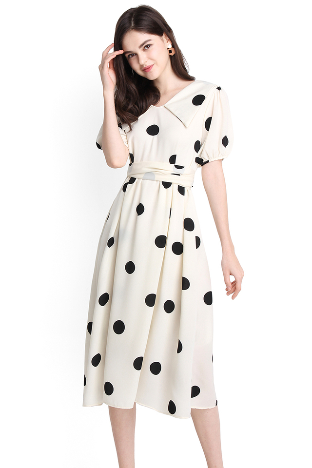 Romance In The Rain Dress In Cream Polka Dots
