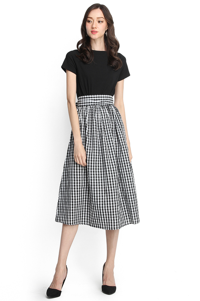 [BO] Pardon My French Dress In Black Checks