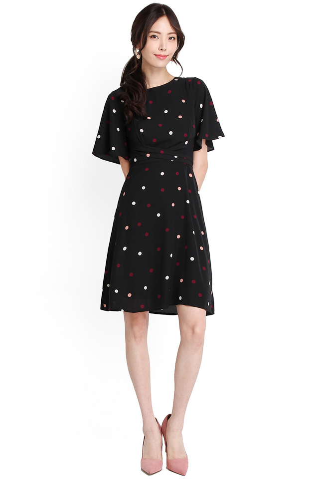 Dream Come True Dress In Black Polka Dots