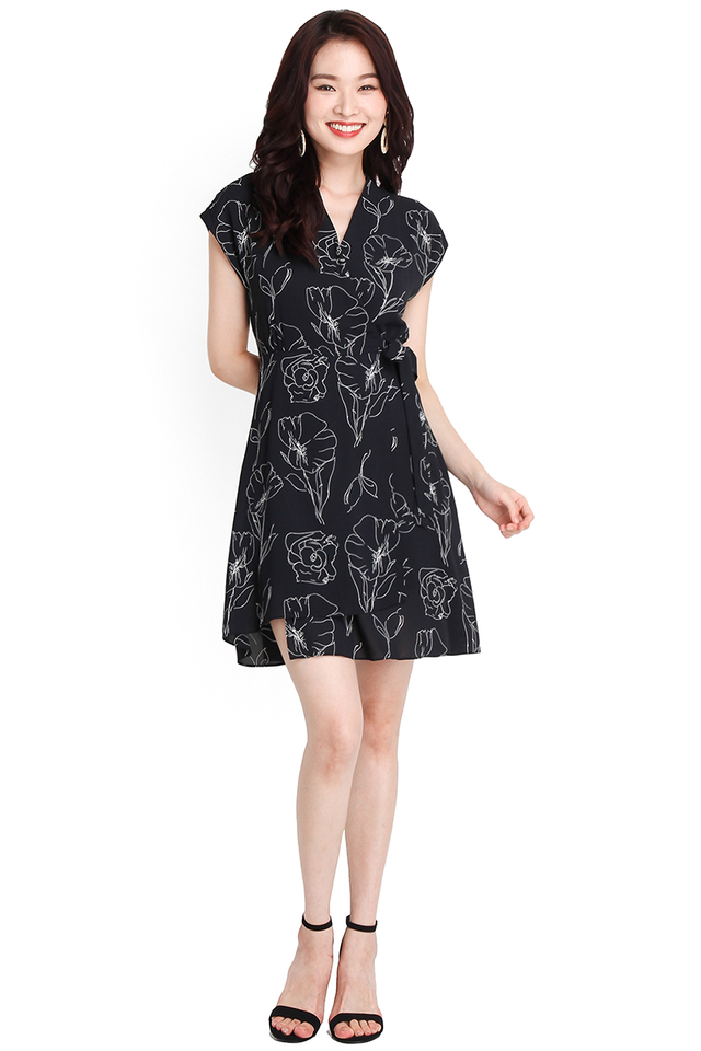 Positive Vibes Dress In Black Florals