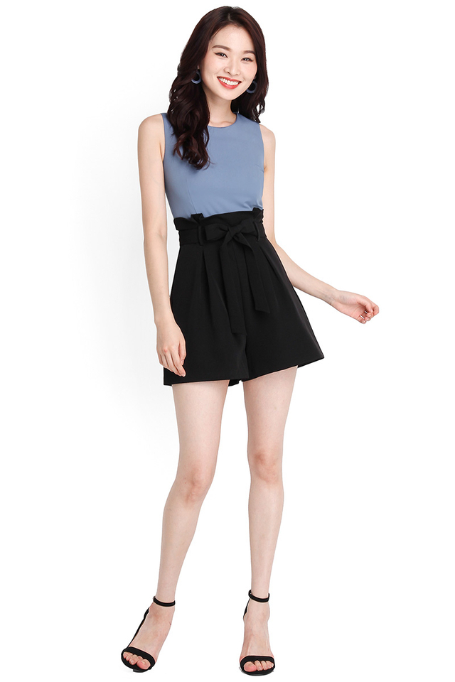 Seasons To Come Romper In Blue Black