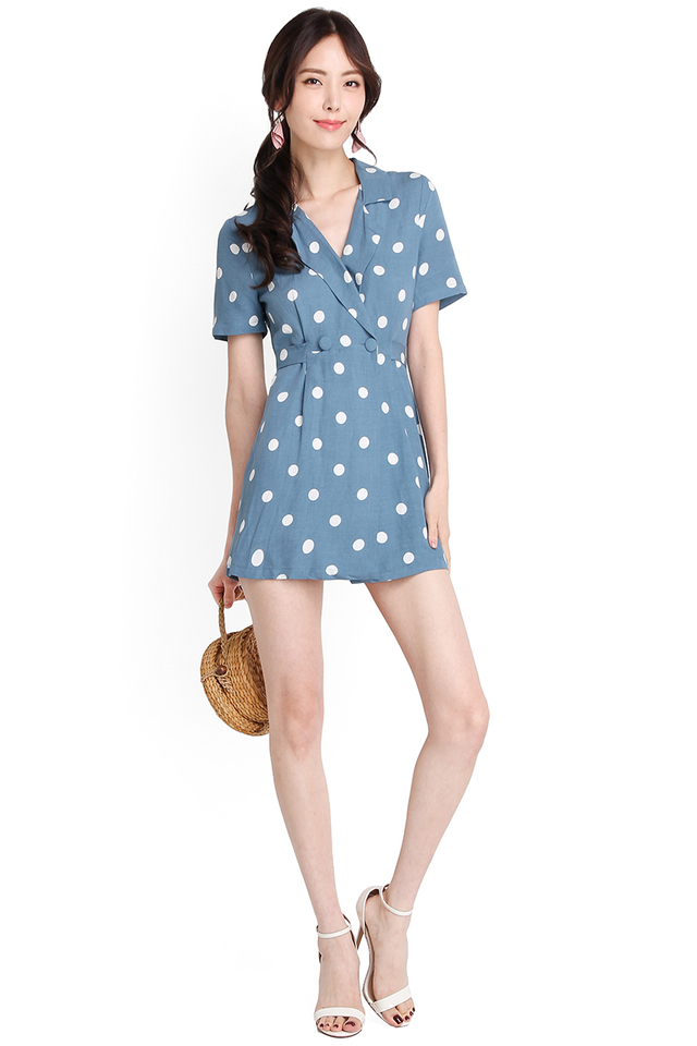 Holiday Season Romper In Blue Polka Dots