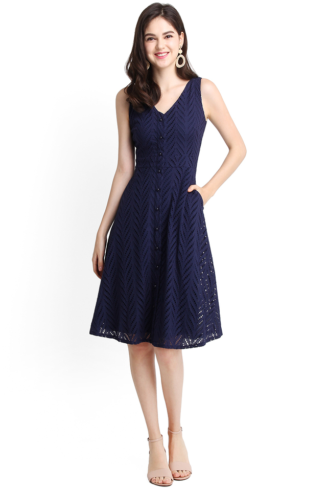 Eat Pray Love Dress In Navy Blue