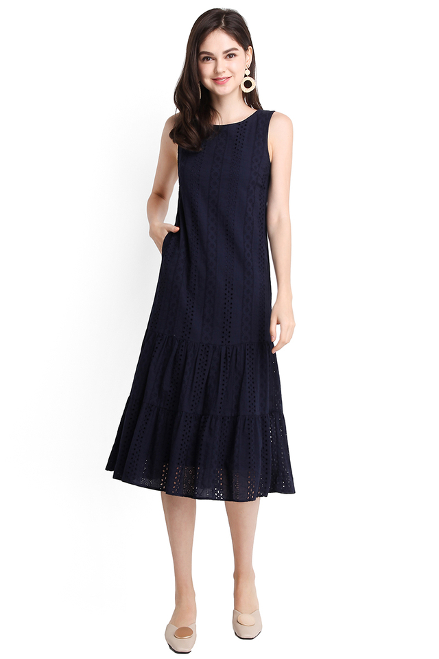 Dreamy Delight Dress In Navy Blue