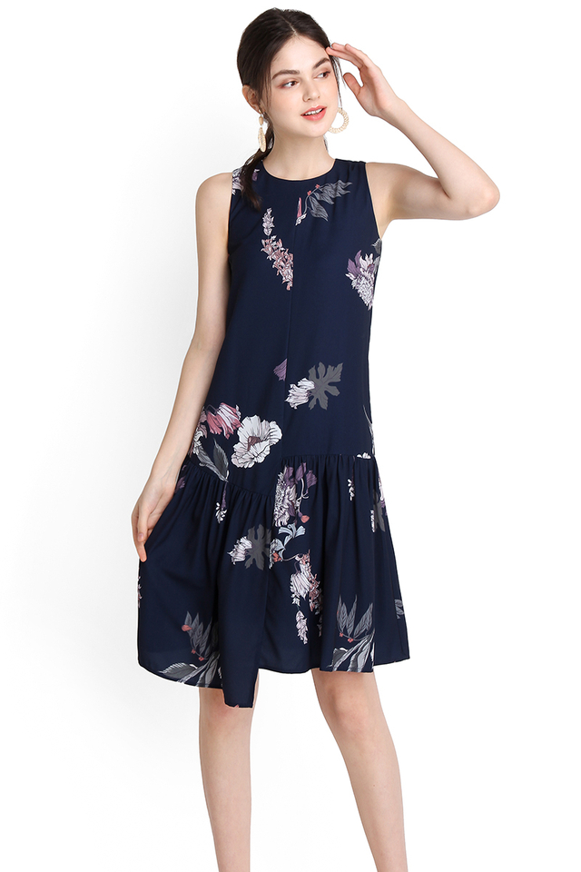 Budding Affection Dress In Blue Florals