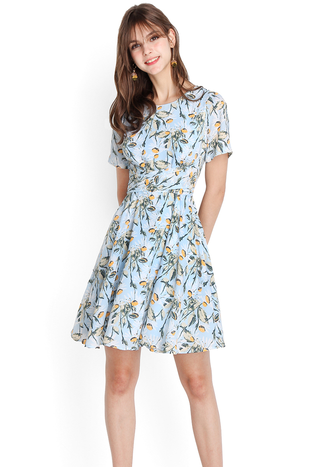 Daisies And Oud Dress In Sky Florals