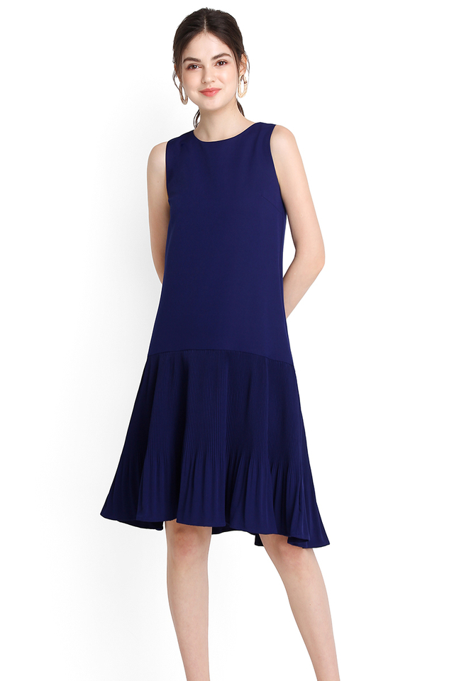 Hot Off The Press Dress In Indigo Blue