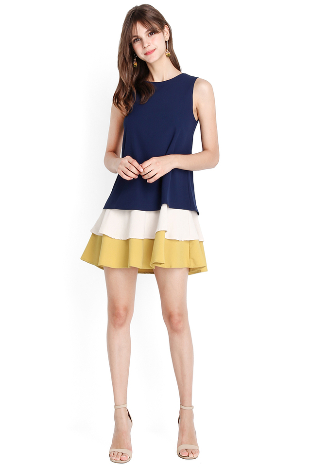 Wave Hello Dress In Blue Mustard