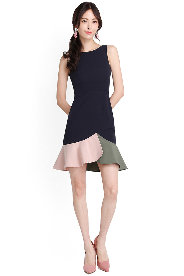 Hues Of Camaraderie Dress In Navy Blue