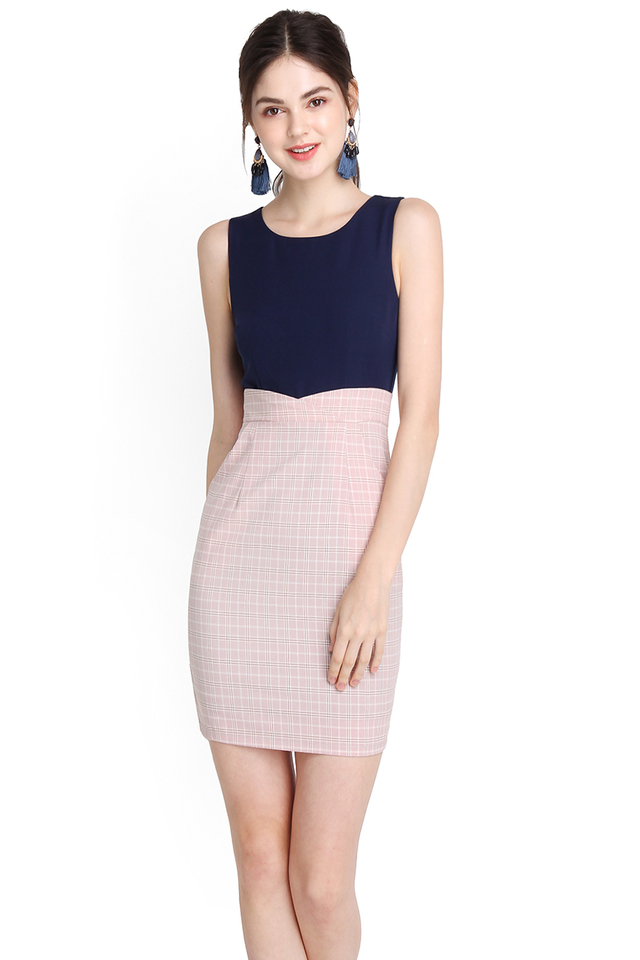 Perfect Elegance Dress In Blue Pink Checks