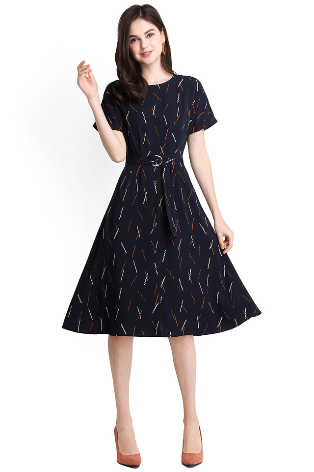 Bon Bon Fun Dress In Blue Prints