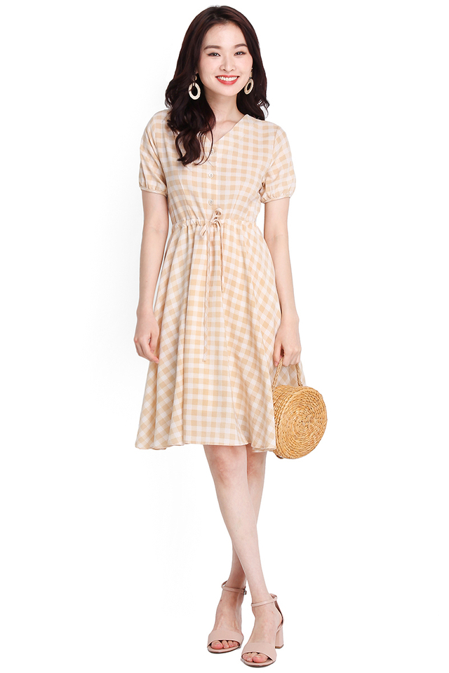Sunset Paradise Dress In Sand Checks