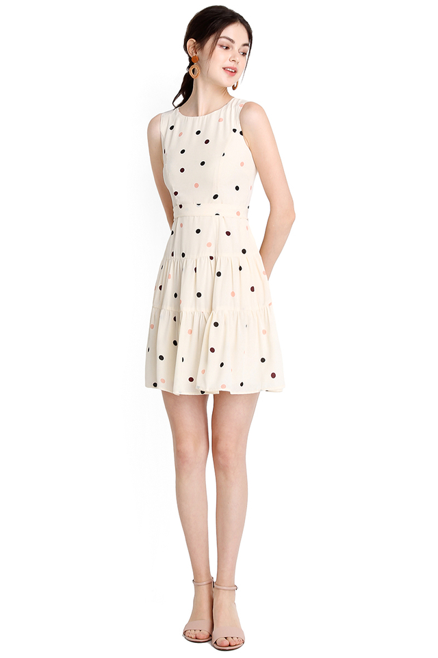 Tinkle Twinkle Dress In Cream Polka Dots