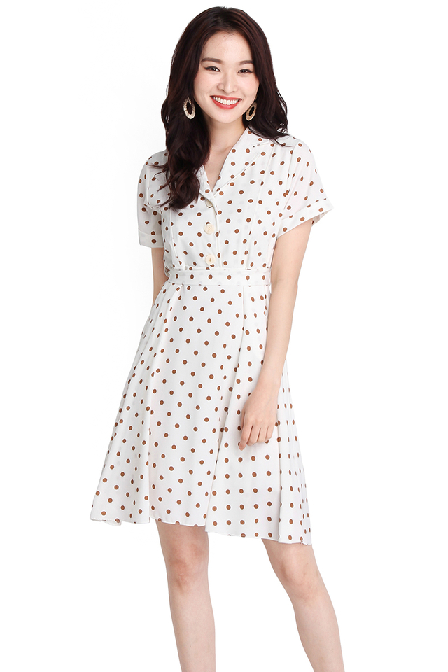 Darling Enchantment Dress In White Polka Dots