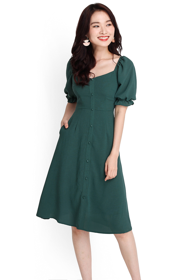 Romantic Fairytale Dress In Forest Green