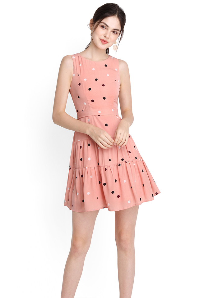 Tinkle Twinkle Dress In Pink Polka Dots