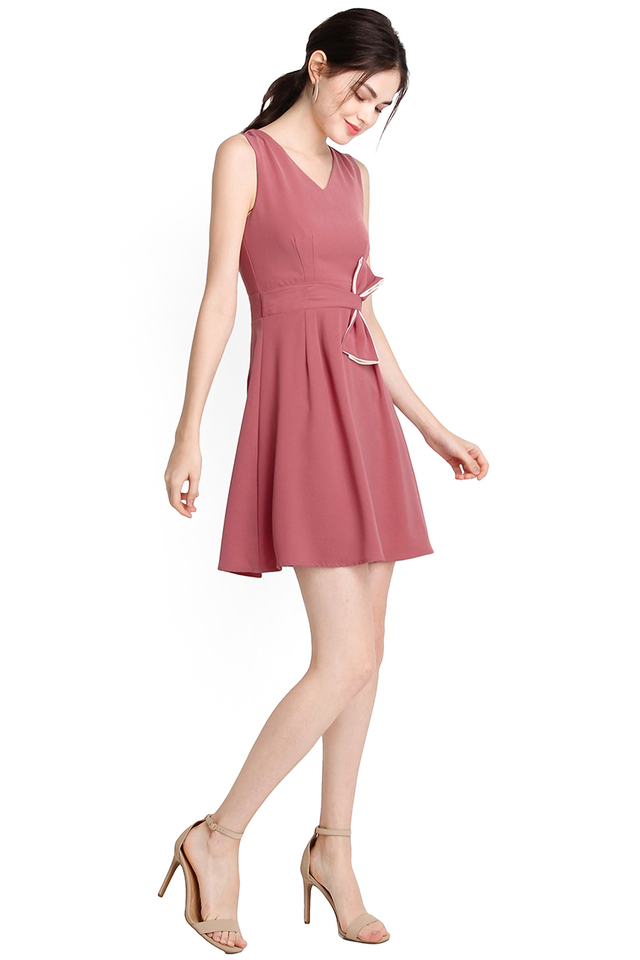 Bow Beauty Dress In Rose Pink