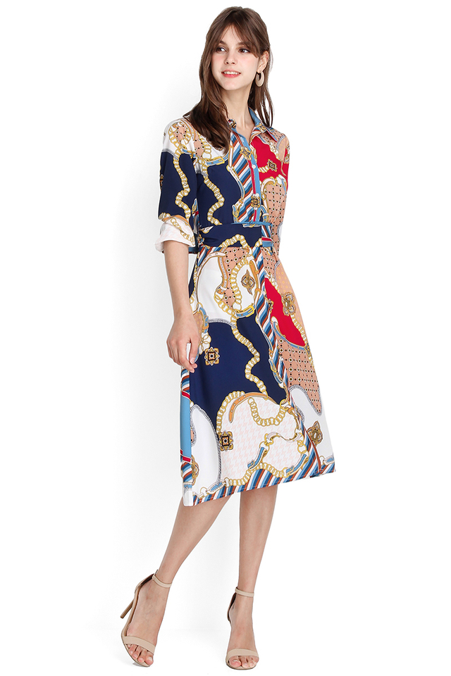 Knots Of Caribbean Dress In Nautical Prints
