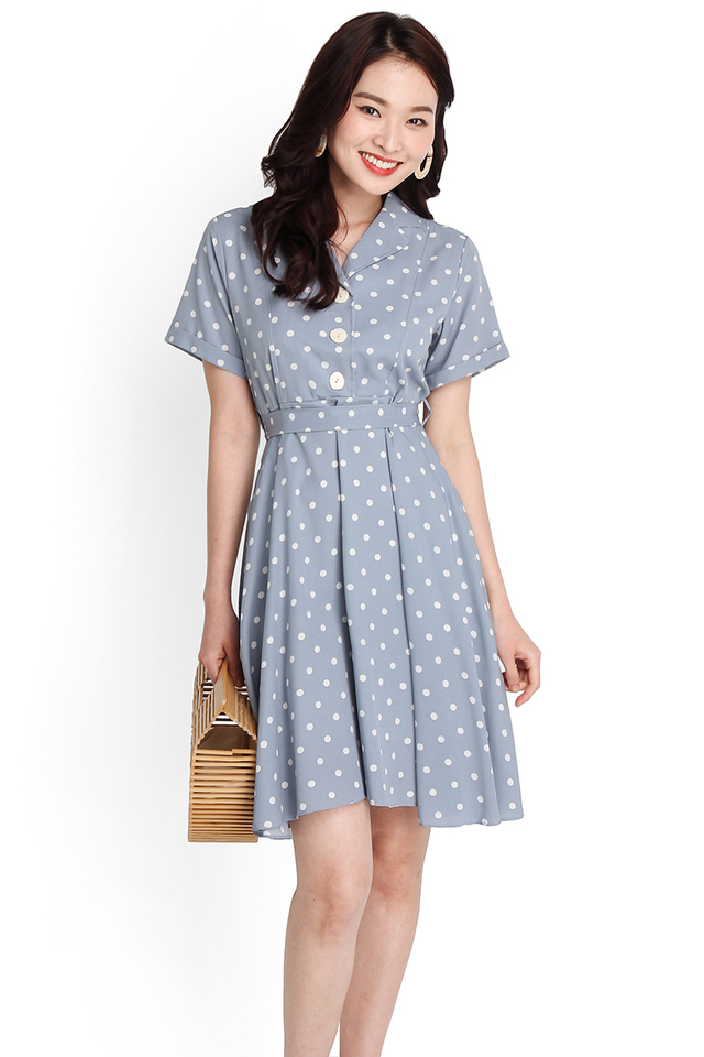 Darling Enchantment Dress In Sky Polka Dots