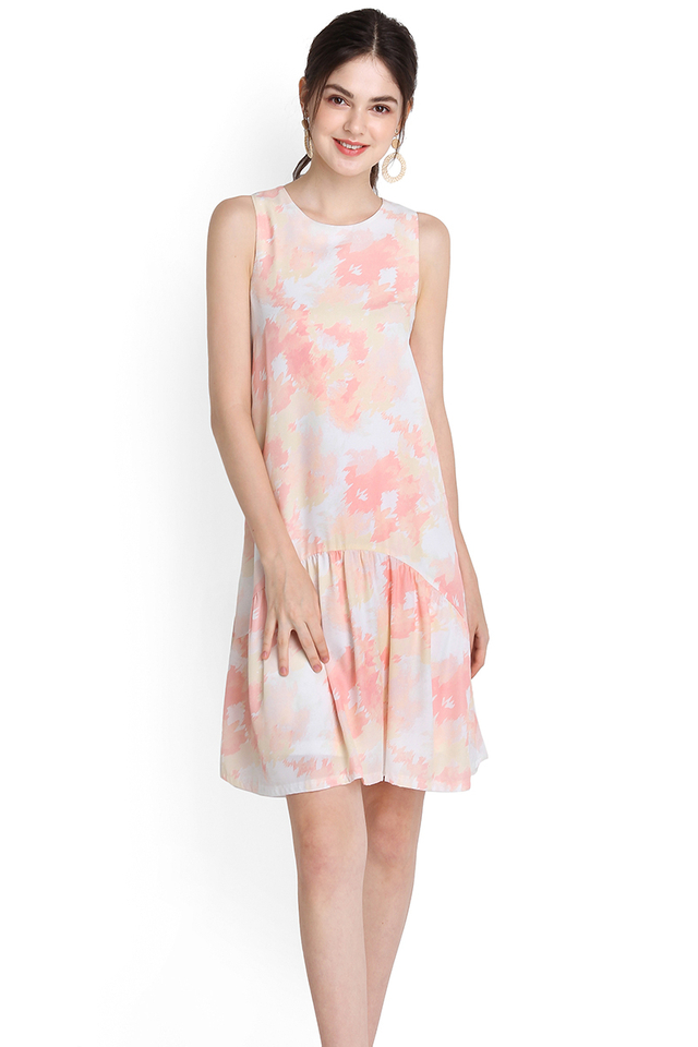 Blushing Beauty Dress In Peach Prints