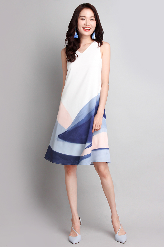 [BO] Rainbow Of Love Dress In Blue Brush Strokes