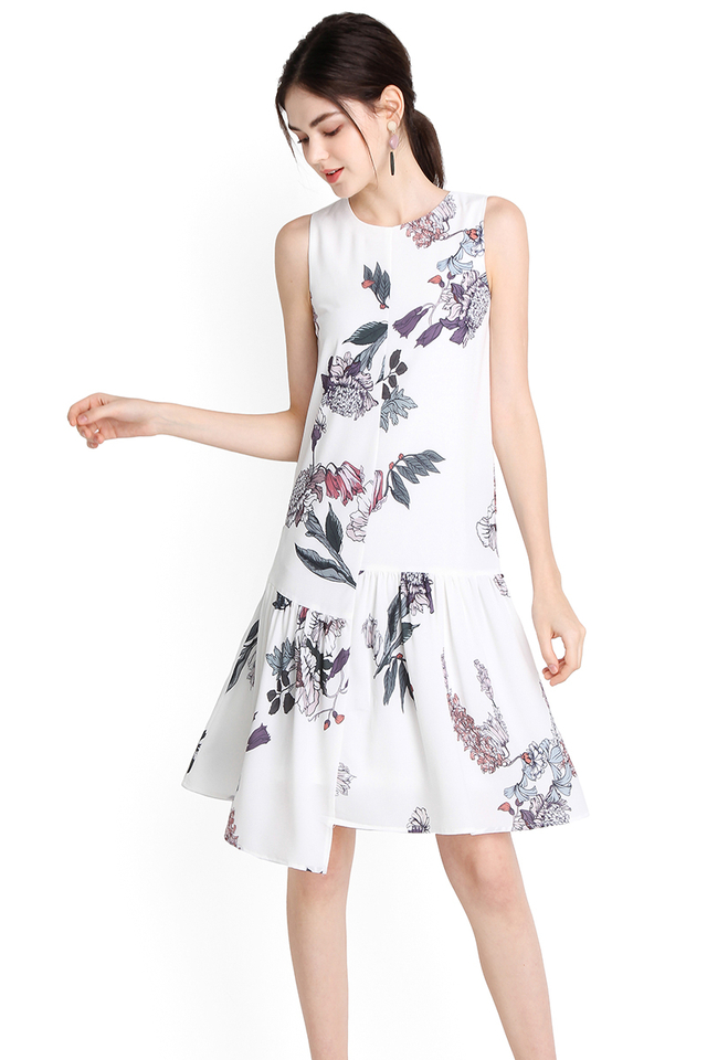 Budding Affection Dress In White Florals
