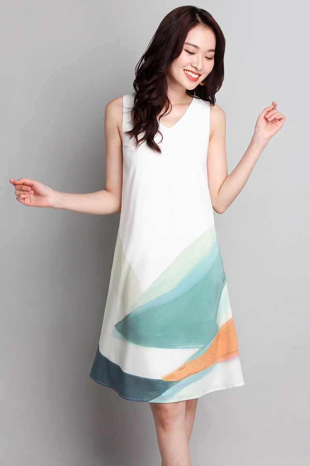 Rainbow Of Love Dress In Green Brush Strokes