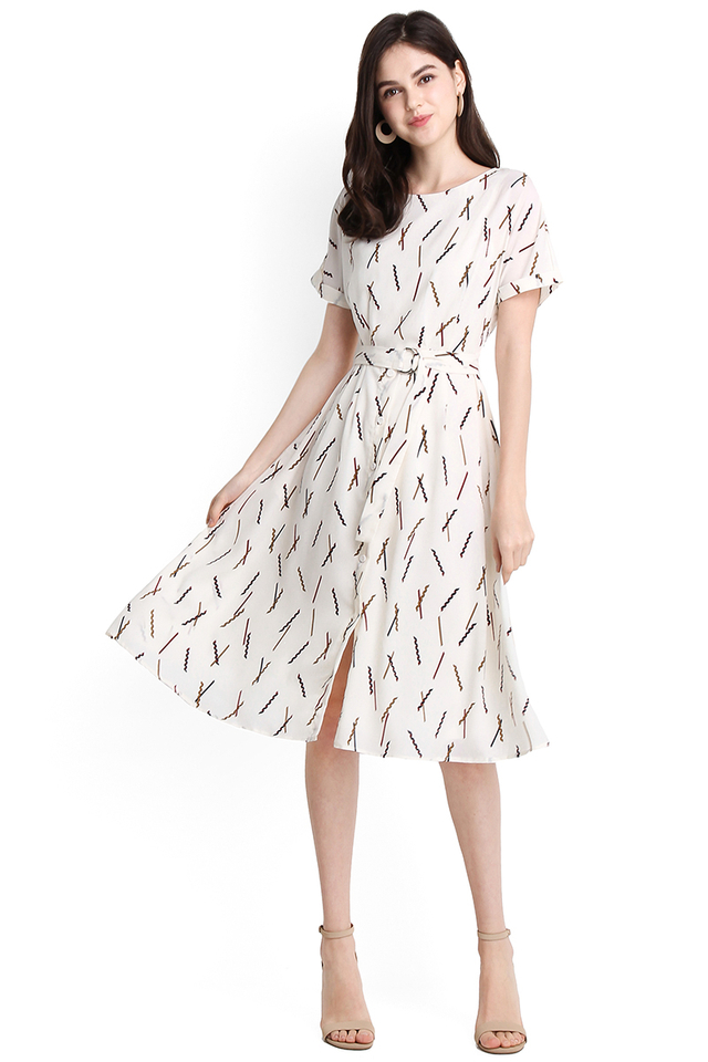 Bon Bon Fun Dress In White Prints