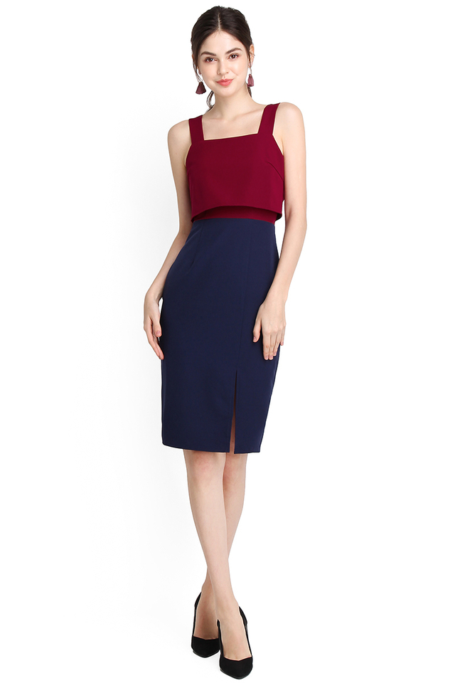 Miss Twiggy Dress In Wine Blue