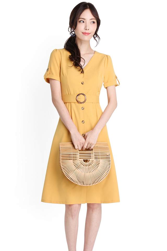 Lighthearted Moments Dress In Mustard Yellow