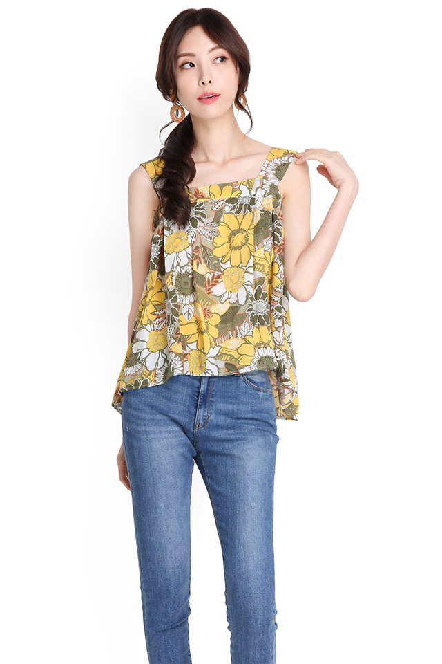 Summer Done Right Top In Yellow Florals