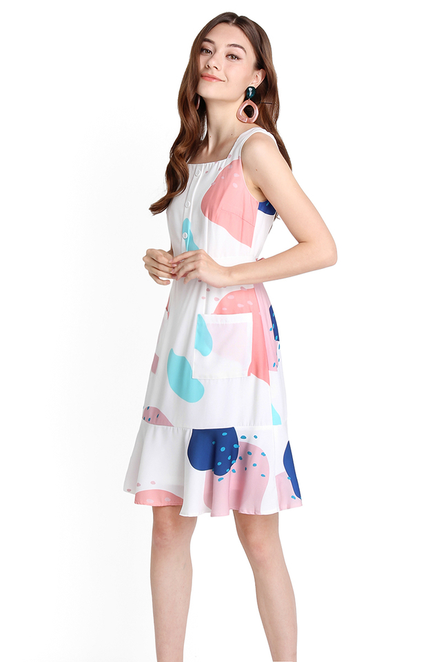 Palette Of Dreams Dress In White Abstract Prints