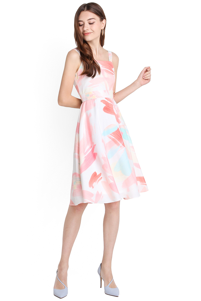 Pastel Daydreams Dress In Pink Prints
