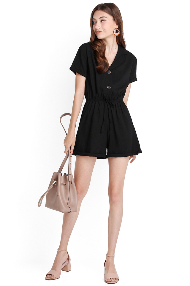 Holiday In San Diego Romper In Classic Black