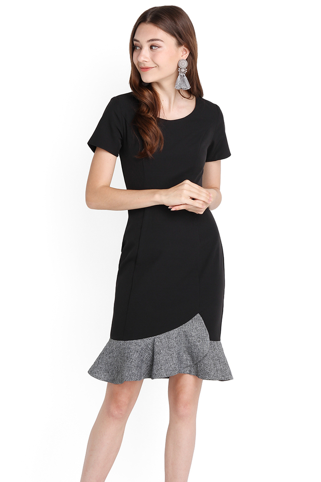 Classy Outlook Dress In Black Grey