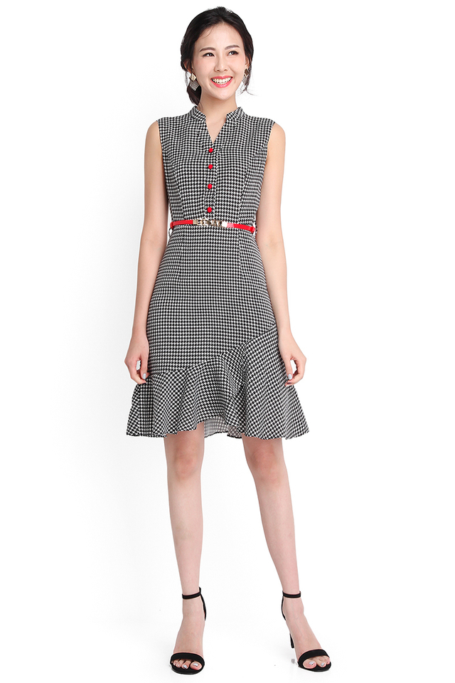 Cherry Pops Dress In Black Houndstooth Prints