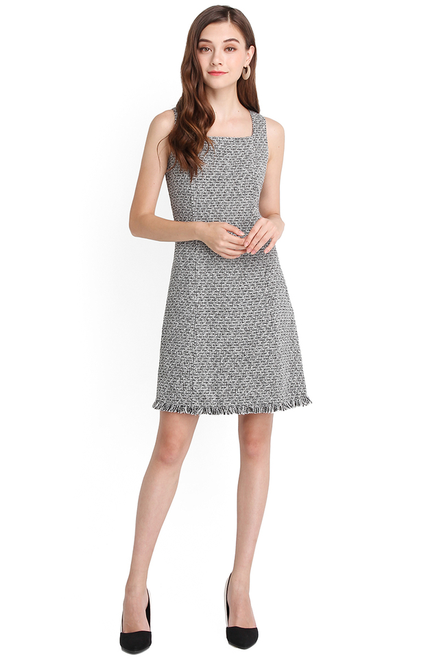 Golden Age Dress In Grey Tweed