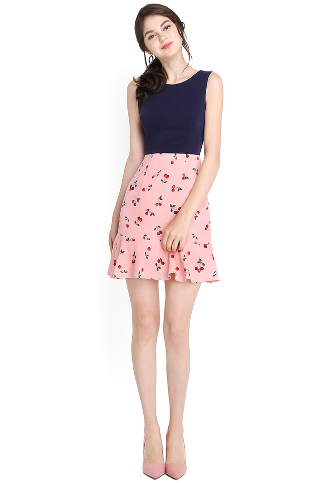 Cherry On The Cake Dress In Navy Pink