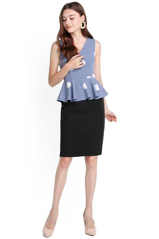 Delicate Finesse Dress In Blue Polka Dots