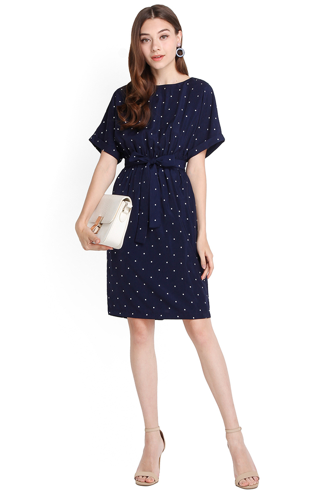 Summer Dreamer Dress In Blue Polka Dots